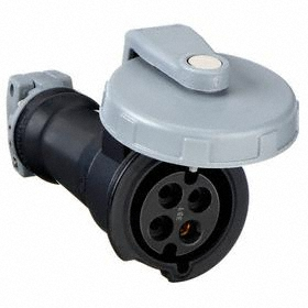 Hubbell IEC Non-Metallic Watertight Pin & Sleeve Connector: Three Phase, 4 Contacts, 60 Hz Volt Freq, 30 A Current, 600V AC