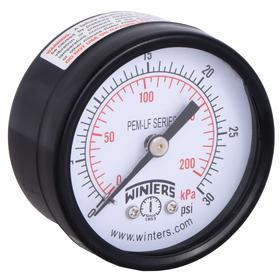 Pressure Gauge: Back, 1/4 in Gauge Port Size, MNPT Gauge Connection Type, 2.00 in Dial Dia, psi, kPa, 0 psi Min Primary Pressure, +/-3.00% Accuracy