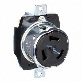 Hubbell Non-NEMA Turn-Locking Female Receptacles' Corrosion Resistant: Three Phase, 4 Contacts, 50 A Current, 480V AC