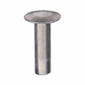 Truss Head Tubular Rivet: Aluminum, 9/64 in Body Dia, 1/4 in Body Lg, For 0.150 in Min Material Thickness, 100 PK