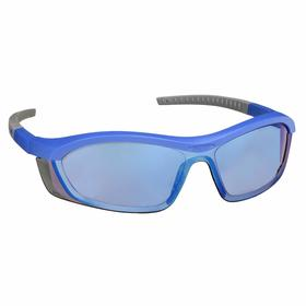 Honeywell Safety Glasses: Blue Mirror, Half Frame, Anti-Fog/Anti-Static/Scratch Resistant, Blue/Gray, Nylon