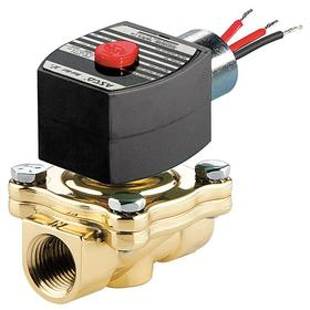 Emerson Solenoid Valve: Brass, Normally Closed Configuration, 1 1/2 Inlet Pipe Size, 220V AC, 16.1 W Watt, Coil Included