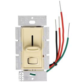 Lutron Dimmer Switch: For Incandescent/Halogen, Rocker Dimmer, 120V AC, 600 W Max Capacity, 4.69 in Overall Ht, 2.94 in Overall Lg, Ivory