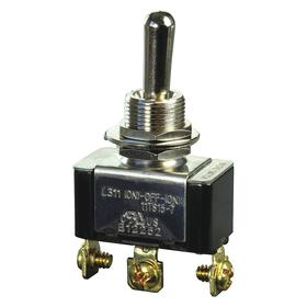 Honeywell Heavy-Duty Toggle Switch: 1/2 in Mounting Hole Dia, 3 Positions, 20 A @ 125V AC Switch Rating (AC), 1 Poles, On-Off-On