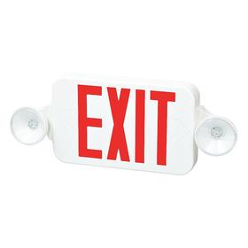 Plastic Exit Sign with Emergency Lighting: LED, 1 Faces, Directional Indicators, Red, 8 1/4 in Overall Ht, 2 Lightheads