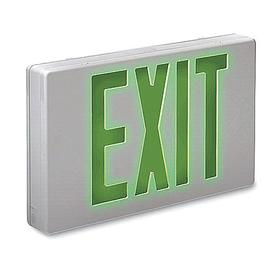 Impact Resistant Plastic Lighted Exit Sign: 2 Faces, Directional Indicators, Green, 8 3/4 in Overall Ht