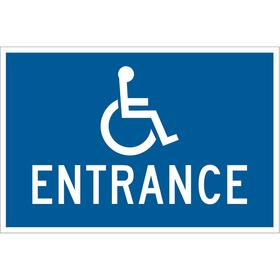 Brady Accessibility Sign: 12 in Overall Ht, 18 in Overall Wd, Aluminum, Mounting Holes