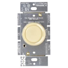 Lutron Dimmer Switch: For Incandescent/Halogen, Toggle Dimmer, 120V AC, 600 W Max Capacity, 4.6 in Overall Ht, 2.86 in Overall Lg, Ivory, 1 Gangs