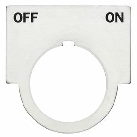 Siemens Push Button Legend Plate: 30 mm Compatible Panel Cutout Dia, 1/2 Round, Off-On, Silver, 2 in Overall Wd, Black