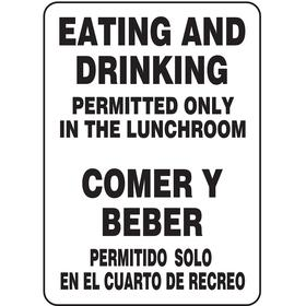 Accuform Food & Water Sanitation Sign: 14 in Overall Ht, 10 in Overall Wd, Vinyl, Self-Adhesive, English/Spanish, Text