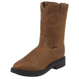 Chemical-Resistant Work Boot: Western Boots, 2E Shoe Wd, 7 Men's Size, Men, Plain, 10 in Shoe Ht, Leather, Brown, 1 PR