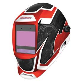 Auto-Darkening Welding Helmet: 5 to 13, 3 7/8 in x 2 1/2 in Lens Viewing Size, Battery/Solar Power Source, Digital