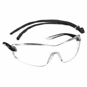 Bolle Safety Glasses: Clear, Frameless Frame, Non-Reflective/Scratch Resistant/Water-Repellent, Black, 121 mm Arm Lg