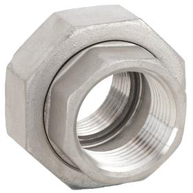 Stainless Steel Pipe Union: 150 Class, NPT, 2 Pipe Size (Port 1), 2 Pipe Size (Port 2), 300 psi Max Op Pressure