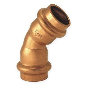 Copper Press 45° Elbow: 1/2 Pipe Size, 200 psi Max Op Pressure