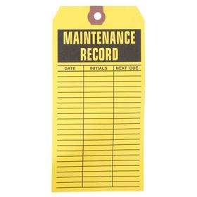 Inspection Tag: 6 1/4 in Overall Ht, 3 1/8 in Overall Wd, Paper, Maint Record, Date/Initials/Next Due, 1000 PK