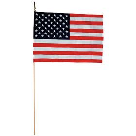 US Handheld Flag Set: 8 in Overall Ht, 12 in Overall Wd, Indoor or Outdoor, United States, Stripes/Stars, Graphic, 12 PK