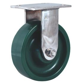 Corrosion Resistant Kingpinless Plate Caster: 6 in Wheel Dia, Rigid, Green, Polyurethane, Roller, 2 in Wheel Wd, B