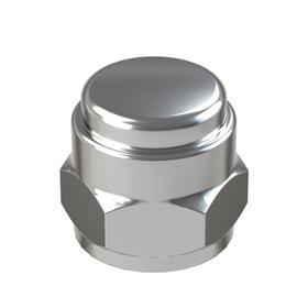 """Flat Top Acorn Nut: Steel, Chrome Plated, 1/4""""-20 Thread Size, 1/4 in Thread Dp, 31/64 in Overall Ht, 7/16 in Wd, 5 PK"""