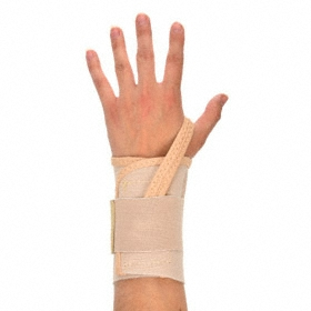 Ergodyne Restricted Movement Wrist Support: Strap Thumb, Downward, Elastic, Hook & Loop, 1 Straps, Tan, Left, XL Size