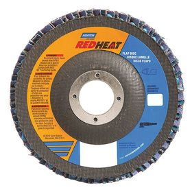 Norton Angled Flap Disc: 7 in Disc Dia, Unthreaded Center Hole, Coarse Relative Grit Grade, 7/8 in Center Hole Dia