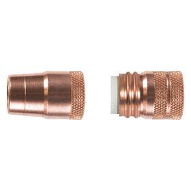 Tweco Velocity MIG Welding Gun Nozzle: Std Nozzle, Copper, Up to 450 A Amperage Range, 0.625 in Bore Dia, Threaded, 2 PK