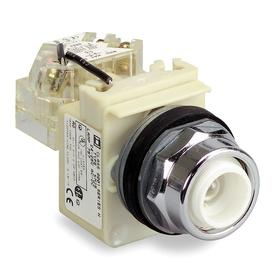 Schneider Electric Push to Test Pilot Light without Lens: 120V AC, Full Volt, For Incandescent, Chrome Plated, Clear
