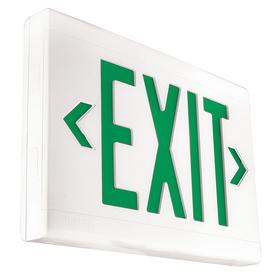 Hubbell Impact Resistant Plastic Lighted Exit Sign: 1/2 Faces, Directional Indicators, Green, 9 in Overall Ht, 13 in Overall Lg