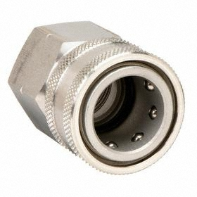 Parker Hannifin Quick-Disconnect Socket: Straight Through (ST), 3/8 in Coupling Size, Stainless Steel, Ball-Lock, 3/8 Pipe Size