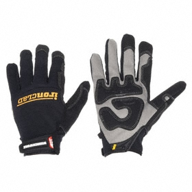 Work Glove: Mechanics Glove, L Size, Gen Purpose, Hook & Loop Cuff, Synthetic Leather, Spandex, Black, 1 PR