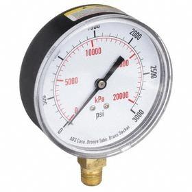 Test Pressure Gauge: Bottom, 1/4 in Gauge Port Size, NPT Gauge Connection Type, 3 1/2 in Dial Dia, psi, kPa, 0 psi Min Primary Pressure