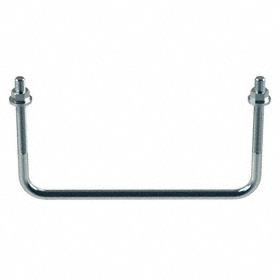 """Square Body U-Bolt: Steel, Zinc Plated, 3/8""""-16 Thread Size, 8 in Inside Wd, For 7 in Pipe Size, 4 5/8 in Inside Lg"""