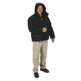 Hooded Arctic Coat: XL Size, 1000-Denier Condura Nylon, Black, Zipper, Attached Hood, Nylon, 4 Pockets, Warm Weather