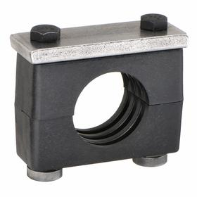 Block-Style Clamp: Block-Style Clamp, Single, Weld Plate, Carbon Steel, Polypropylene, For 1 Pipe Size, 4 in Overall Lg