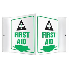 First Aid Sign: First Aid Station, Three Way, 6 in Overall Ht, 8 1/2 in Overall Wd, Plastic, Mounting Holes