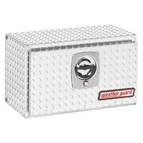 Weather Guard Underbed Truck Box: Aluminum, Silver, 14 in Overall Ht, 24 1/8 in Overall Wd, 12 1/4 in Overall Dp, Single