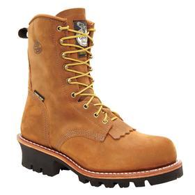 Georgia Leather Work Boot: Men, Steel, 8 in Shoe Ht, Tan, Compression/Electrical Hazard/Impact/Waterproof, 13 Men's Size, 1 PR
