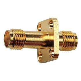 SMA Adapter: SMA(F) x SMA(F), Straight, Female SMA, Female, 50 ohms Input Impedance, PTFE, Brass, Beryllium Copper/Brass