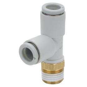 Compact Push-to-Connect Run Tee: 10 mm Port 1 Tube Size, 10 mm Port 2 Tube Size, 1/8 Pipe Size (Port 3), BSPT