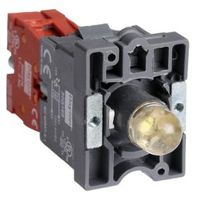 Lamp Module & Contact Block: For Plastic Operators, 1.57 in Overall Lg, White, 2 Haz Material Indicator, LED, (1) Contact Block, Includes Bulb
