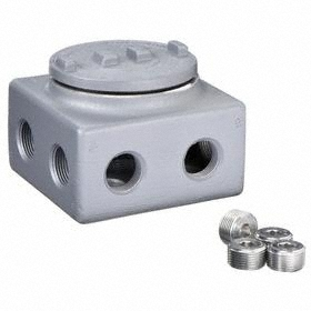 Conduit Outlet Body: 1/2 Trade Size, Epoxy Powder-Coated, Aluminum, 29 cu in Capacity, 3.5 in Overall Ht