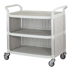 Plastic Shelf Cart: 3 Shelves, Ergonomic, 400 lb Max Load Capacity, Off-White, 36 1/4 in Shelf Lg, 20 1/4 in Shelf Wd