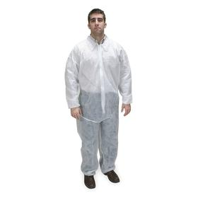 Collared Disposable Coverall: S Size, Polypropylene, White, Zipper, Elastic, Long Sleeve Lg Type, 0 Pockets, Men, 25 PK