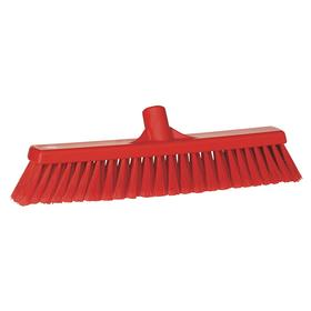 FDA-Compliant Push Broom Head: Red, Plastic, Polypropylene, 16 in Broom Head Wd, 2 1/4 in Bristle Lg, Soft
