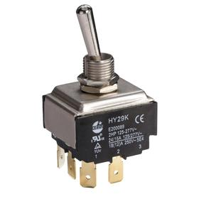 General Duty Toggle Switch: Non-Illuminated, 2 Positions, 20 A @ 125V AC Switch Rating, 3 Poles, On-Off, 3PST