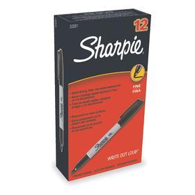 Sharpie Permanent Marker: Capped, Fine Tip Size, Black, 12 PK