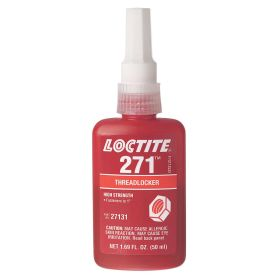 Loctite 271 Threadlocker: High Threadlocking Strength, Red Color, 10 min Working Life, For Up to 1 in Fastener Dia Range, 1.69 fl oz Size
