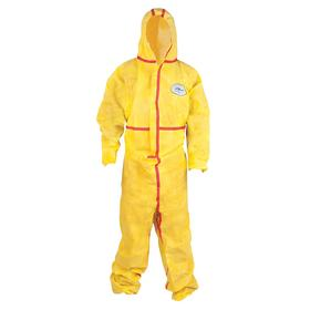 Hooded Chemical Resistant Coverall: 2XL Size, Chemsplash 1, Yellow, Zipper, Attached Hood, Elastic, Taped Seam, 6 PK