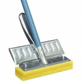 Sponge Mop: Butterfly, Cellulose, Wood, 2 in Sponge Wd, 8 1/2 in Sponge Lg, 36 in Handle Lg, Yellow, Quick Change, Blue