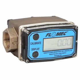 Flowmeter: 10 gpm Max Flow Rate, Brass, NPT, 1.0 gpm Min Flow Rate, For 1/2 in Pipe Size, 2500 Pulses per Gallon